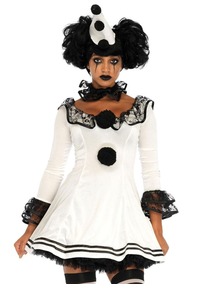 3PC.Pierrot Clown,lace trimmed
