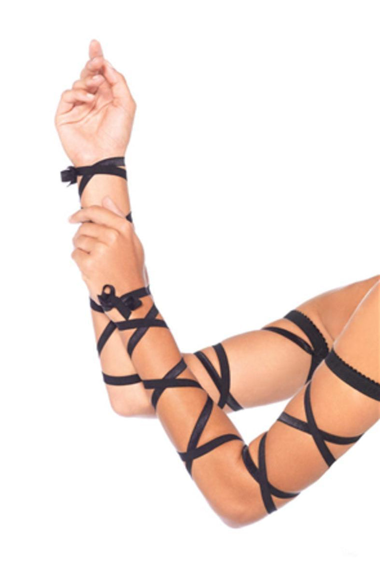 Elastic ribbon arm wraps in BLACK