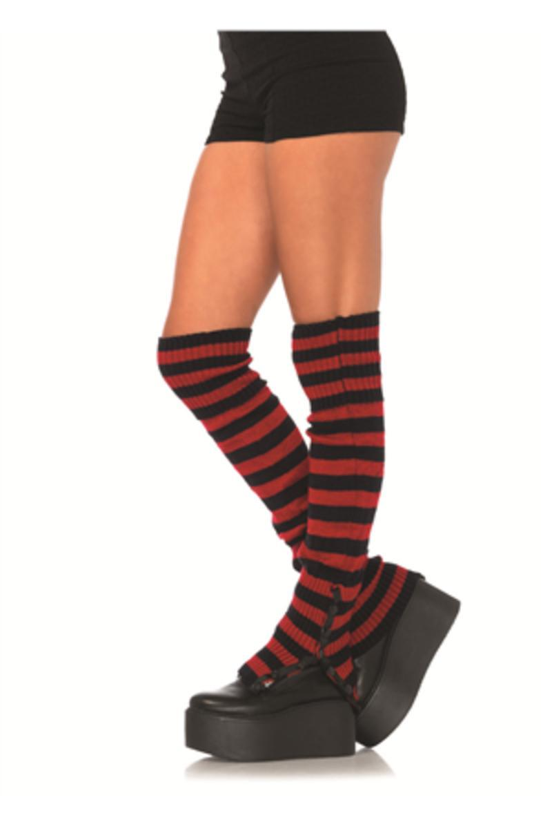 The Striped Extra Long Leg Warmers in Black/Red