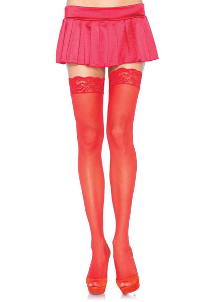The Nylon Sheer Thigh-Hi W/Lace Top in Red