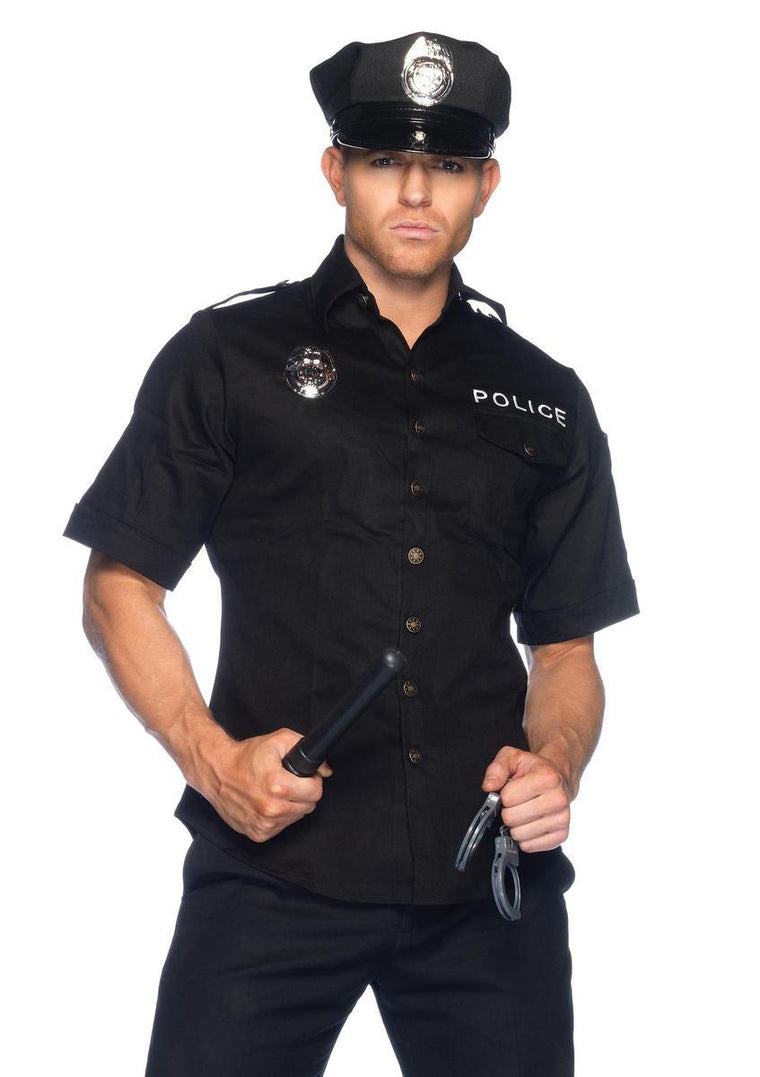 4Pc. Men'S Police Shirts , Hand Cuff, Hats And Baton