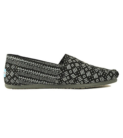 Toms for Men: Classic Black Gray Tribal Print Twill