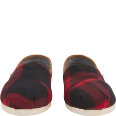 Toms for Woman: Classic Red and Black Plaid Woven Flats