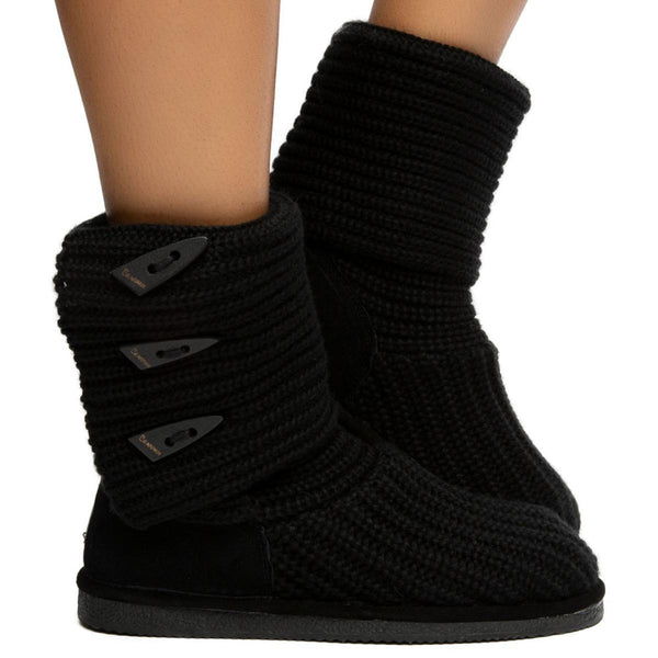 Knit Tall Booties in Black