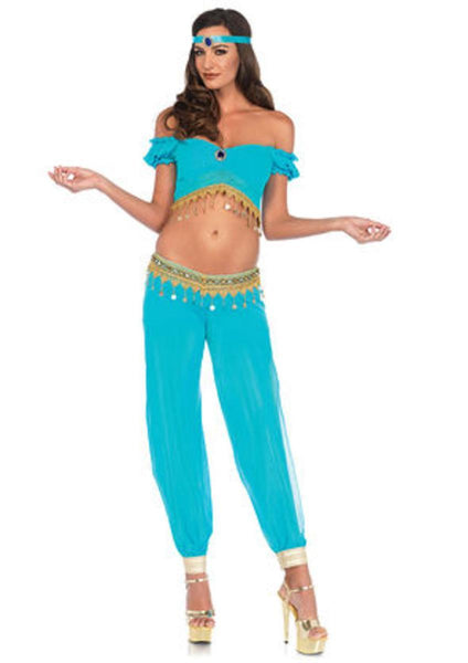 The 3PC. Desert Beauty, Crop Top, Harem Pants w/pantie, Headpiece in Turquoise