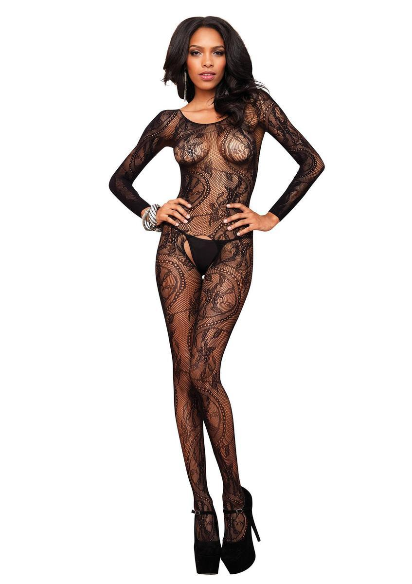 Seamless swirl lace long sleeve bodystocking in BLACK