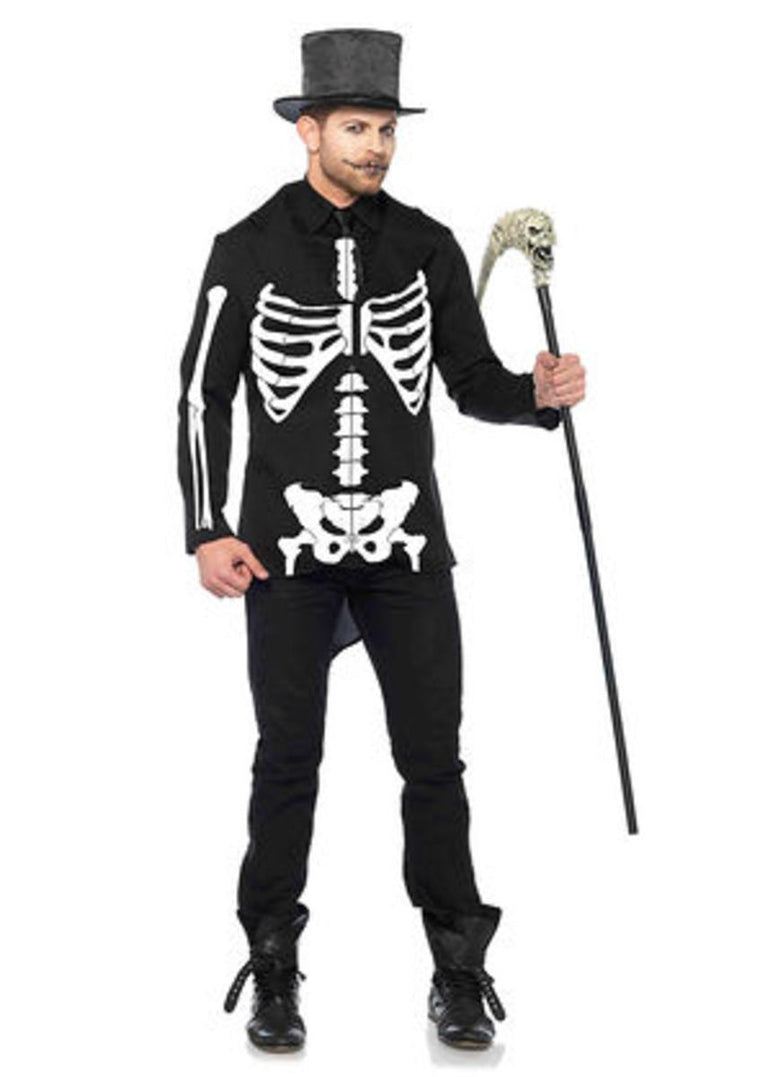 2PC.Bone Daddy,tuxedo jacket w/printed skeleton,bone tie in BLACK/WHITE