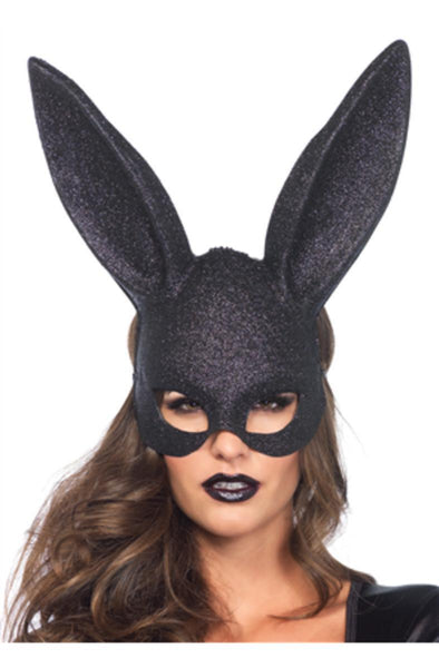 Glitter masquerade rabbit mask ( 6 pieces per box ) in BLACK