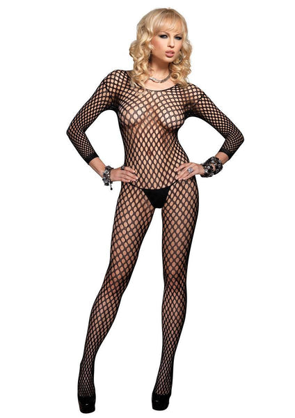 Lycra Ringo Hole Long Slvs Bodystocking in BLACK