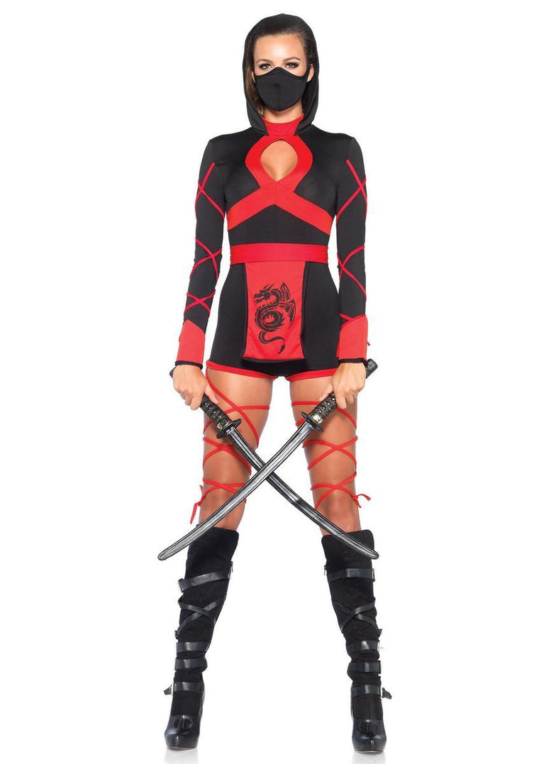 3PC.Dragon Ninja,hooded romper,waist sash,and face mask in BLACK/RED