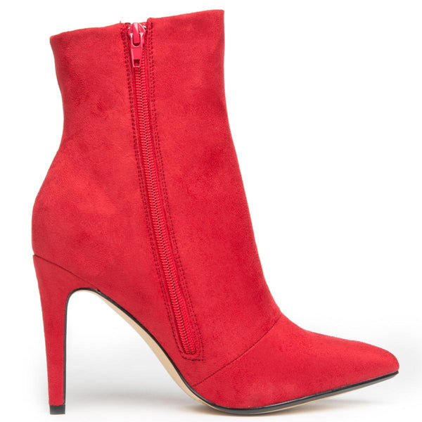 Chinese Laundry Song Bird Micro Suede Red Heeled Booties
