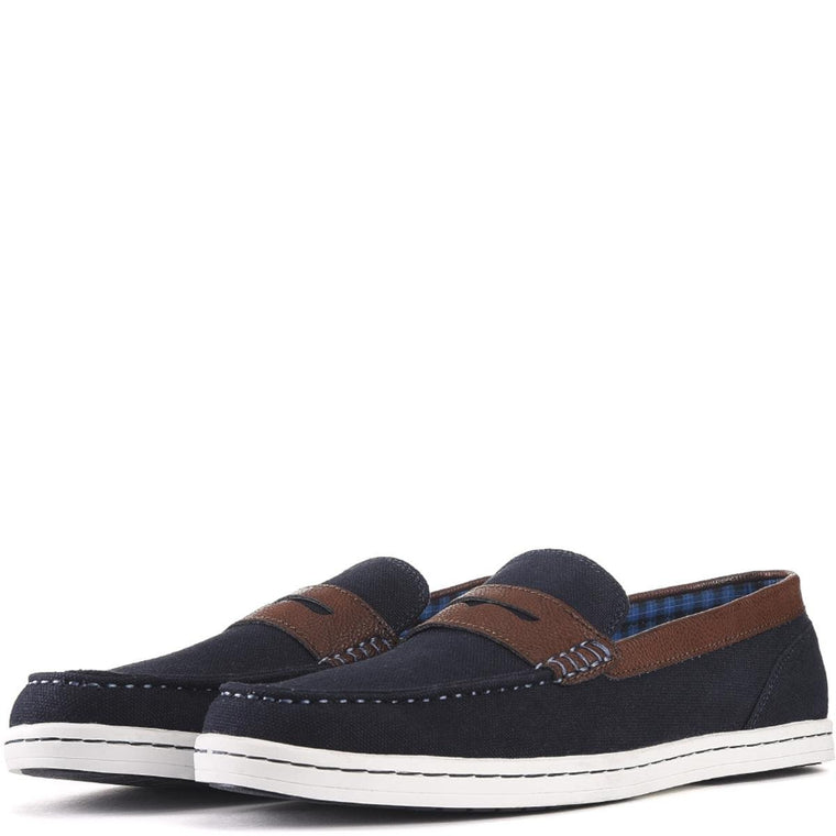 Ben Sherman for Men: Parnell Navy Canvas Loafers