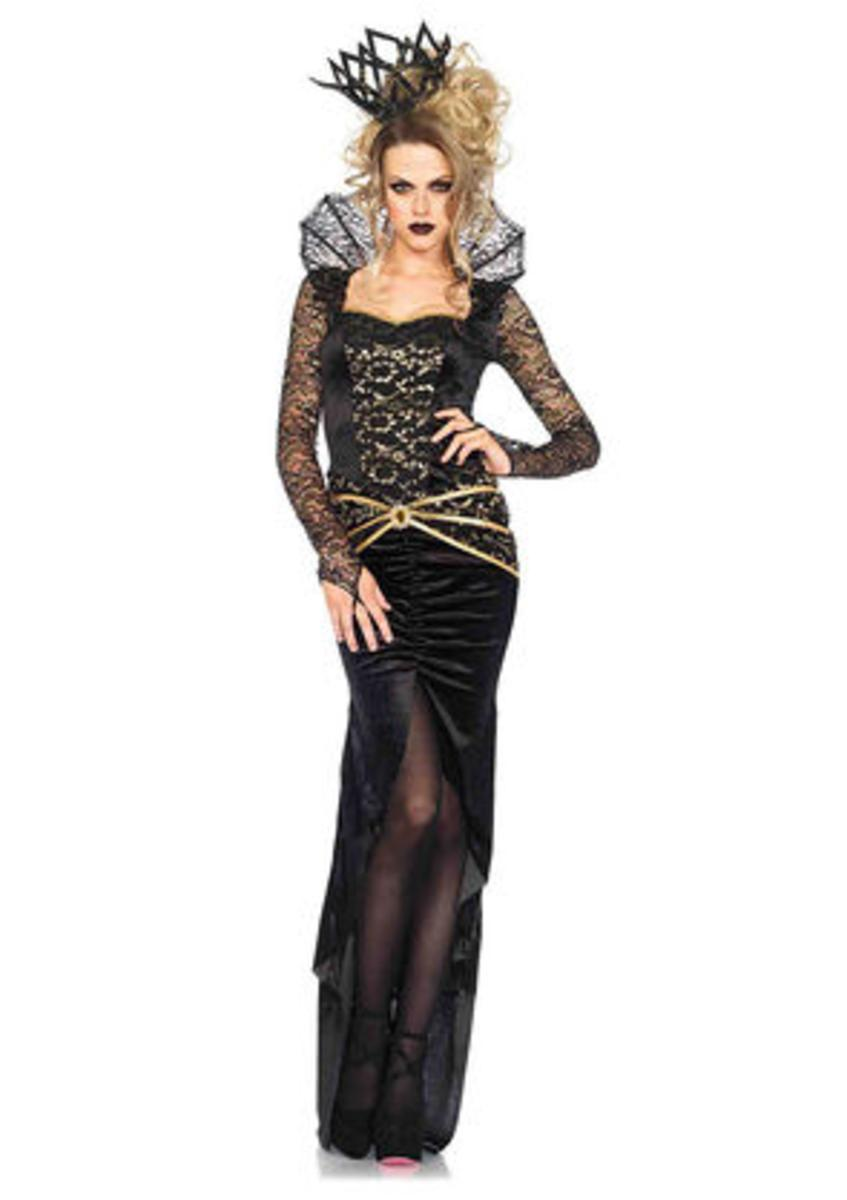 2PC.Deluxe Evil Queen,high slit fishtail dress,imperial crown in BLACK/GOLD
