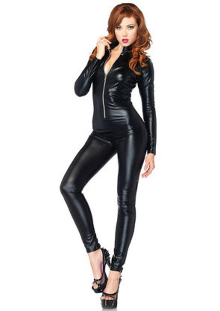 Wet look zipper front cat suit in BLACK