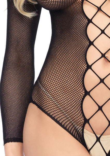 Women's Fishnet Faux Lace Up Crotchles