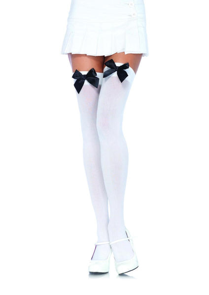 Nylon Over The Knee W/Bow in WHITE/BLACK