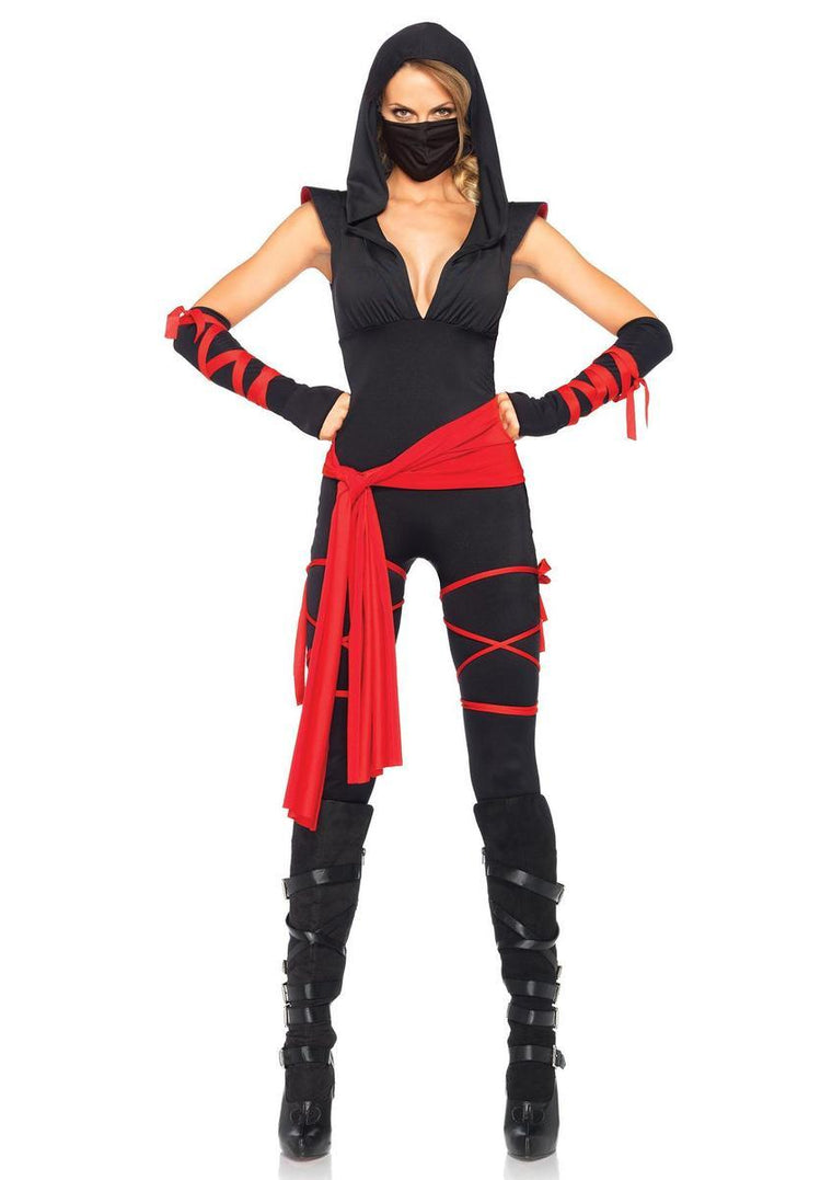4PC.Deadly Ninja,catsuit ,waist sash,arm warmers,mask,leg wraps in BLACK/RED