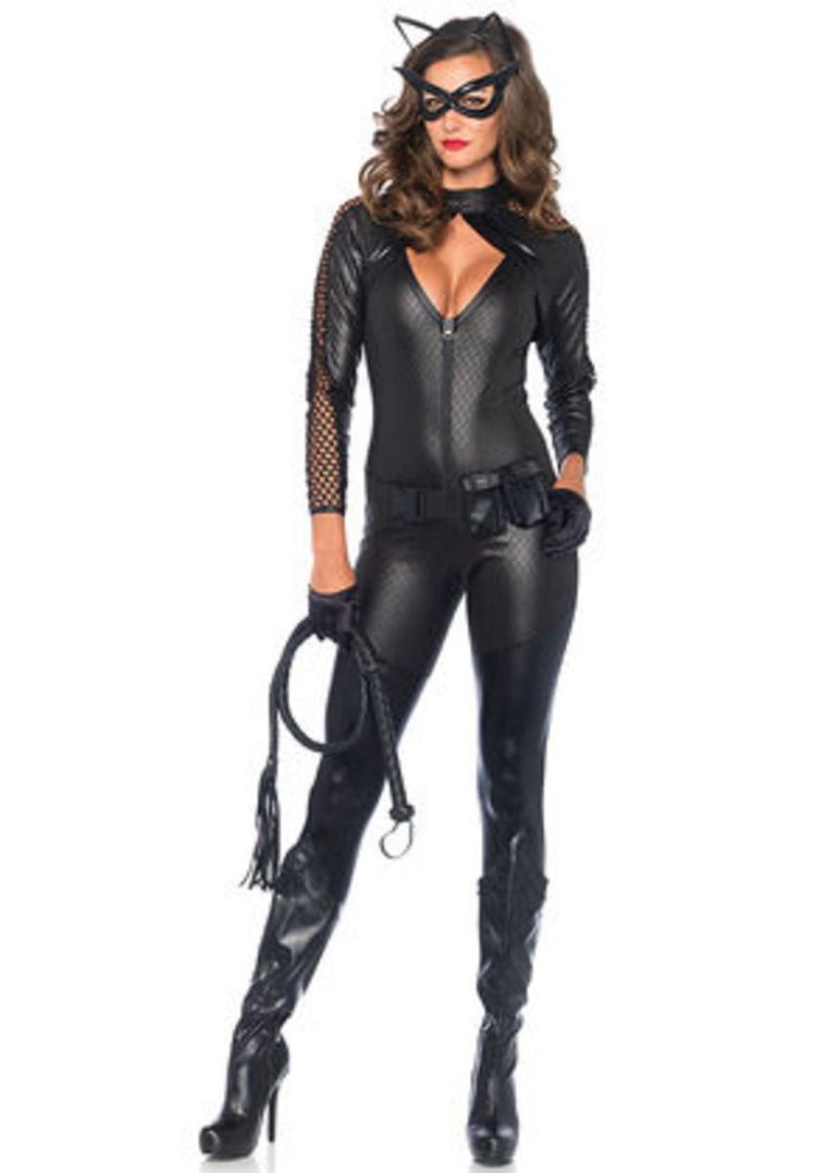 4PC.Wicked Kitty,zip up catsuit,belt,eye mask,ear headband in BLACK
