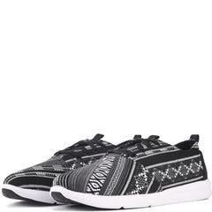 Toms for Men: Del Rey Black/White Woven Linear Cultural Sneakers