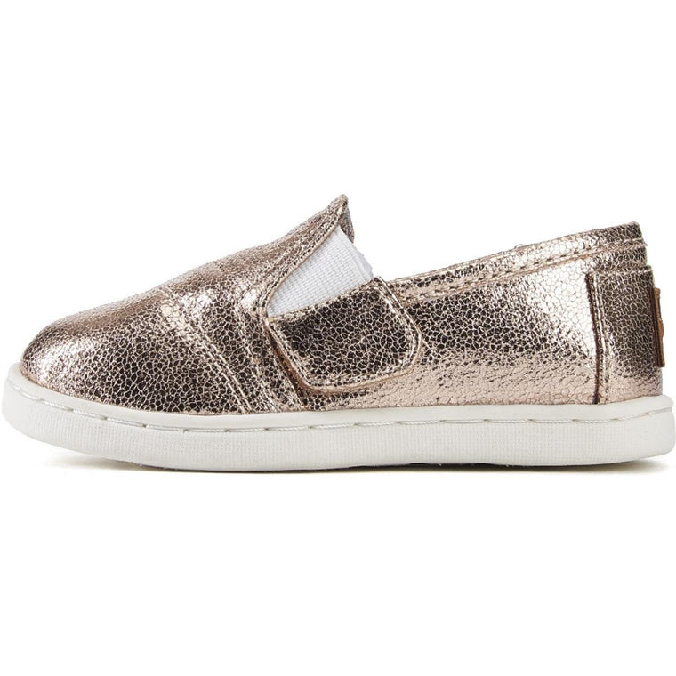 Tiny Toms: Avalon Champagne Metallic Foil Sneakers