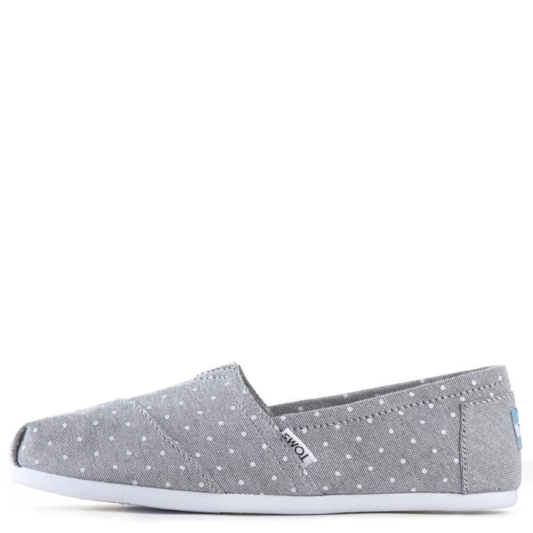 Toms for Women: Classic Pokla Dot Grey Chambray Flats