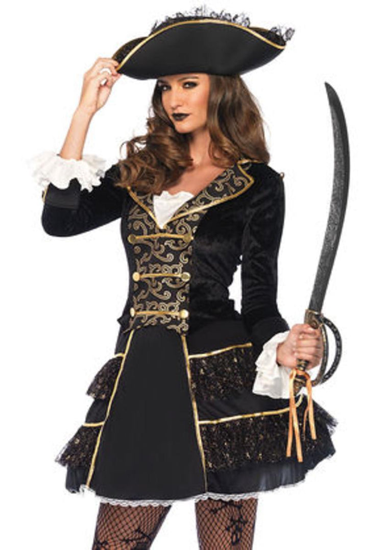 2PC.High Seas Pirate Captain,coat dress and lace ruffle pirate hat in BLACK/GOLD