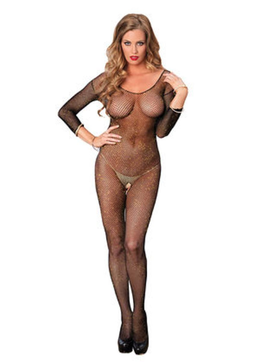 Long sleeved fishnet lurex bodystocking in BLACK/GOLD