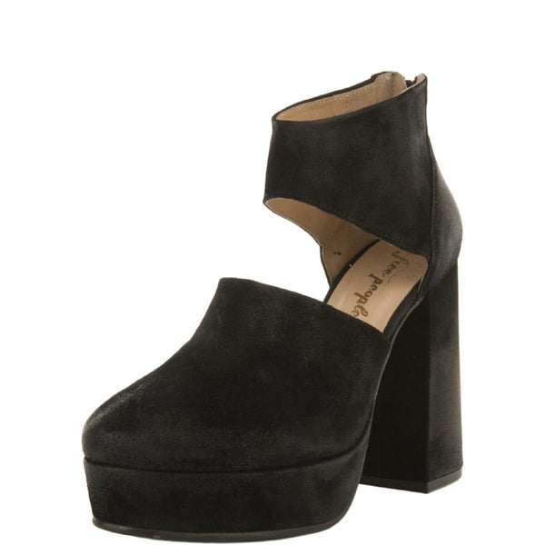 Free People for Women: Luxor Black Suede Platform Heels