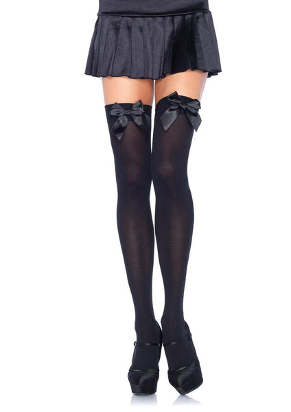 Nylon Over The Knee W/Bow in BLACK