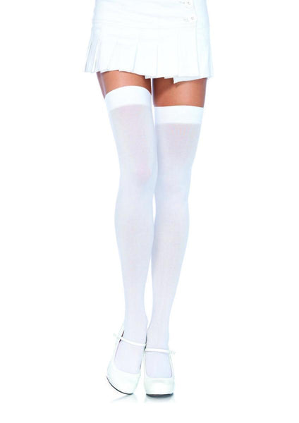 PLUS SIZE NYLON THIGH HIGHS PLUS SI WHITE