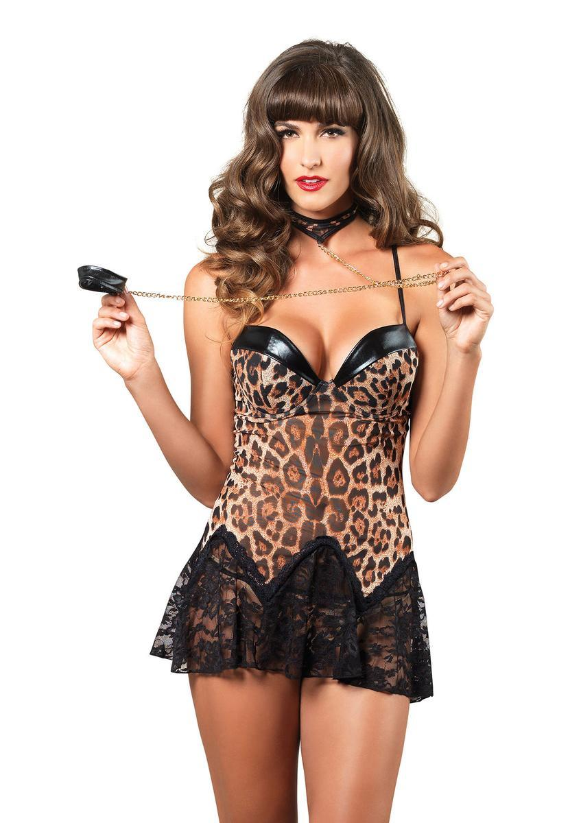 3PC.Padded underwire chemise,g-string,choker w/wrist strap in LEOPARD