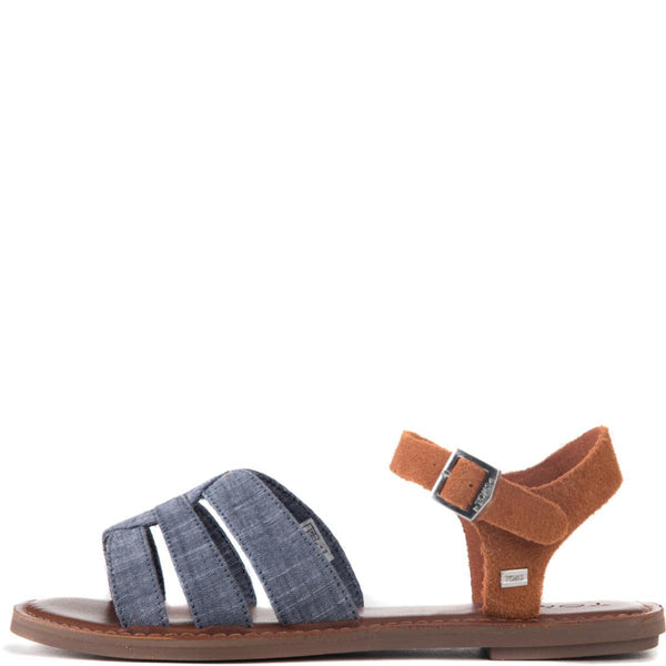 Toms for Women: Zoe Chambray Brown Suede Sandals