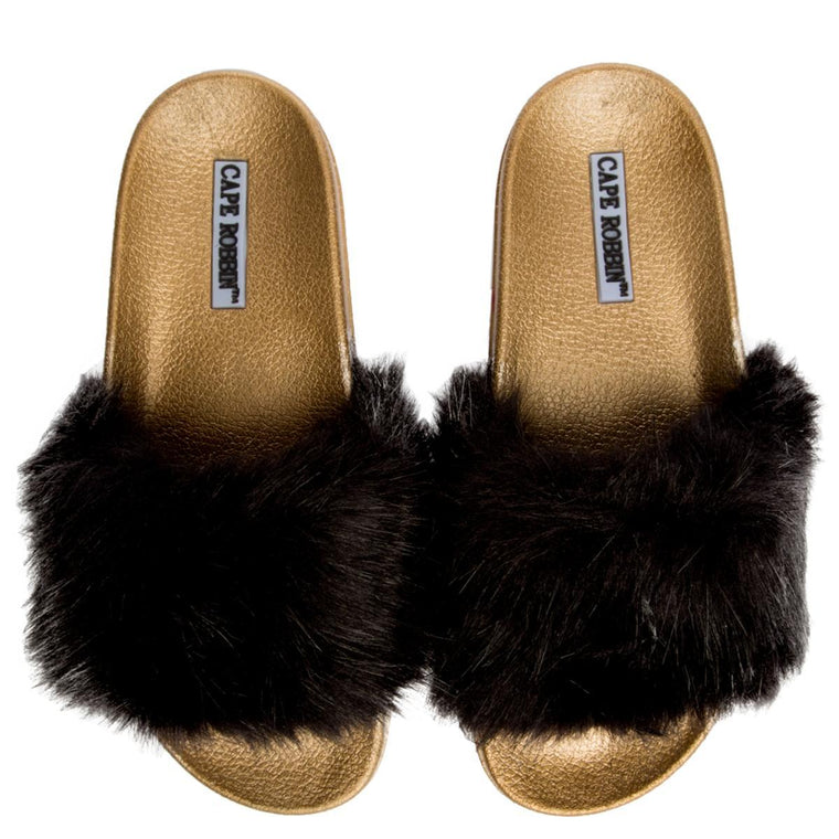 Cape Robbin Moira-5  Women's Black Gold Slide