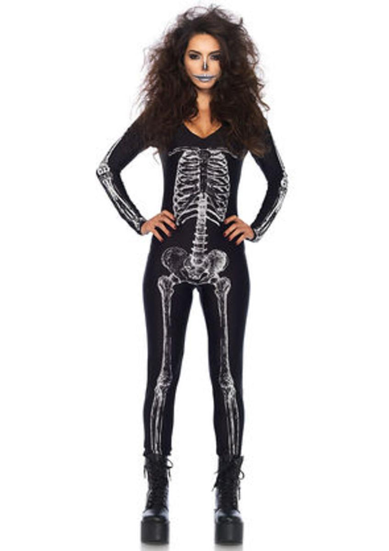 X-ray skeleton catsuit with zipper back in BLACK/WHITE