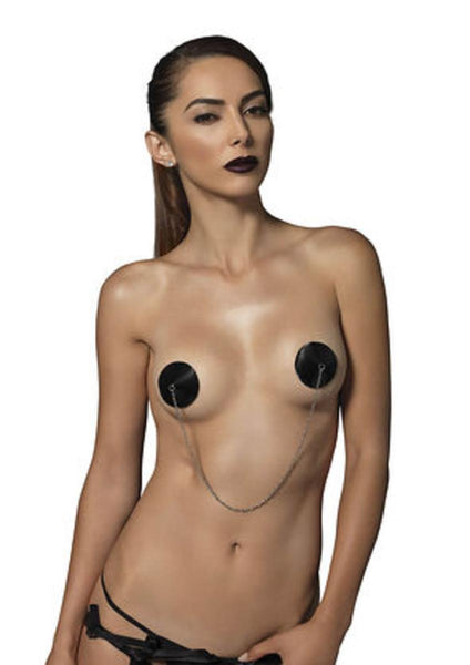 Padded satin connecting chain nipple covers in BLACK