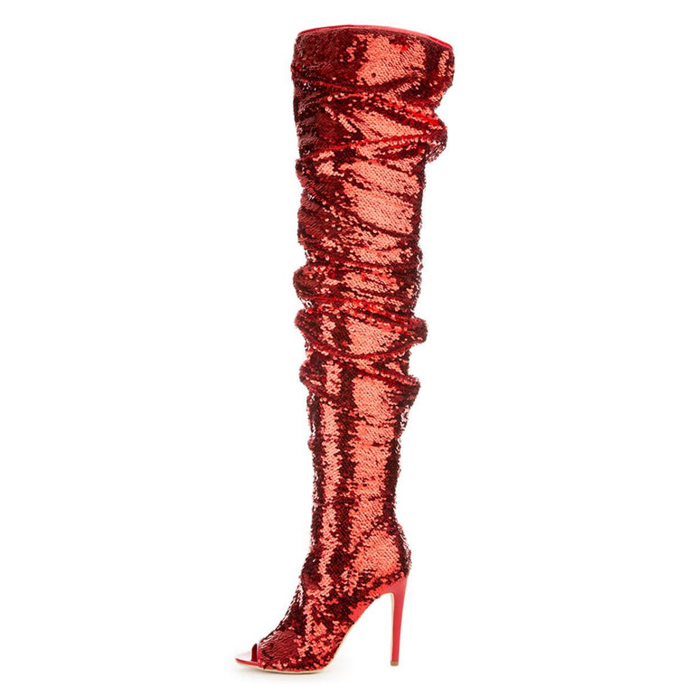 Cape Robbin Julia-1 Red Women's High Heel Boots