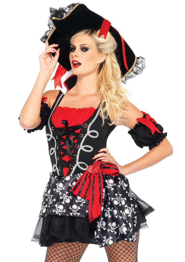 2PC.Buccaneer Babe,dress w/attached skull sash,arm puffs in BLACK/RED