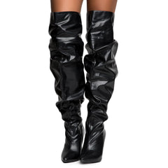 Cape Robbin Kitana-2 Women's Black Thigh High Boots