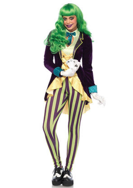 The 2PC. Wicked Trickster, High/low Jacket w/Bow Tie, Striped leggings in Multi-Color