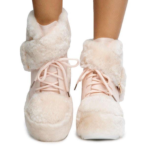 Pink Dlalo Wedged Fur Booties
