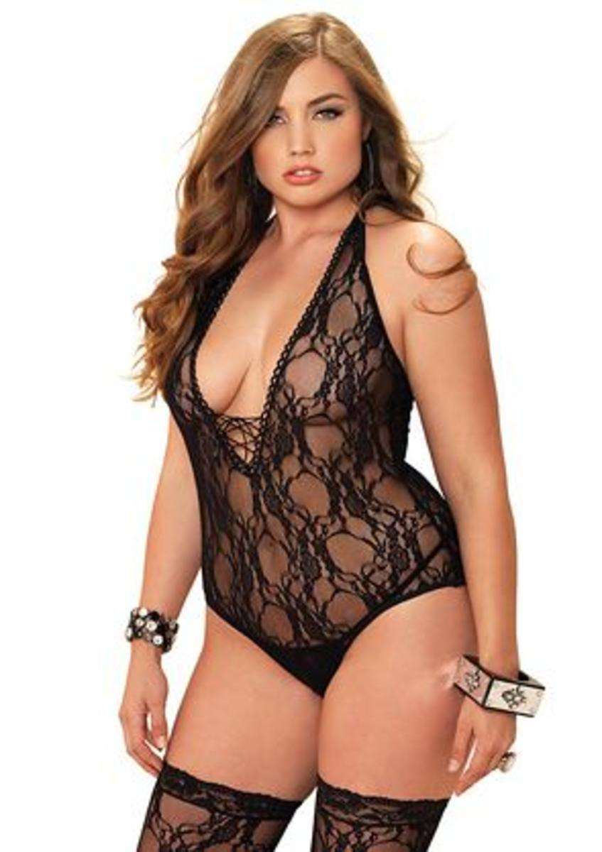 2PC.Floral lace deep-V lace up teddy and matching stockings PLUS SI BLACK