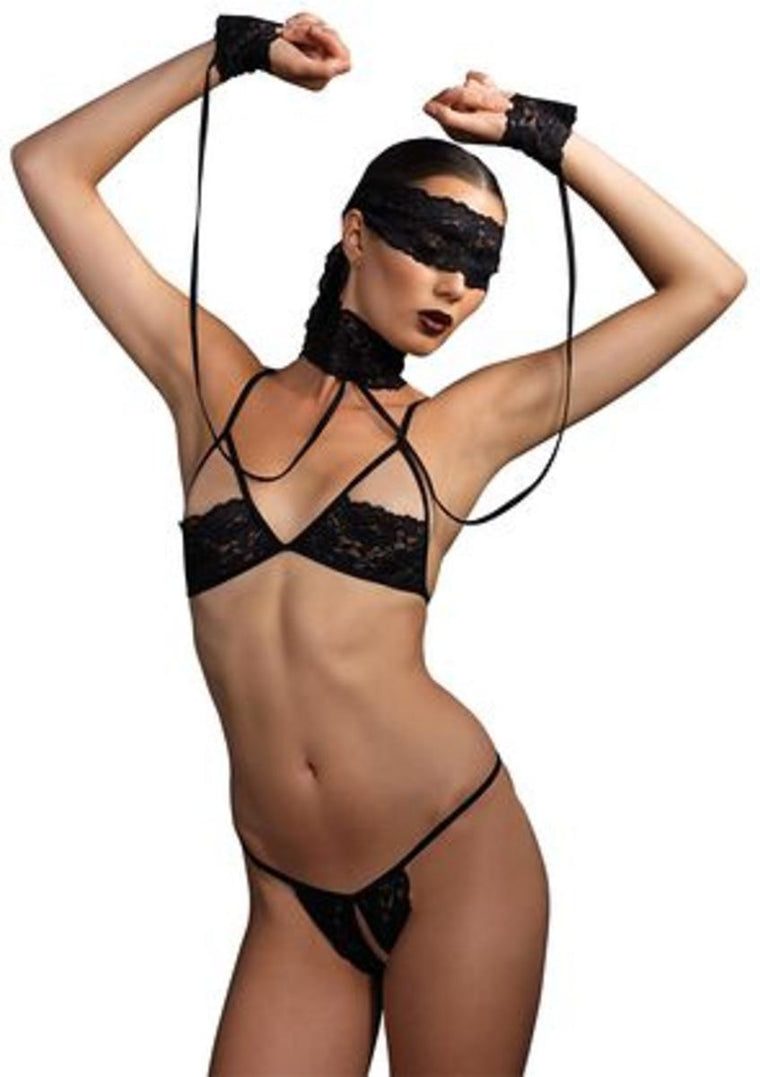 4PC.Lace bra,crotchless g-string,choker w/wrist restraints,eye mask in BLACK