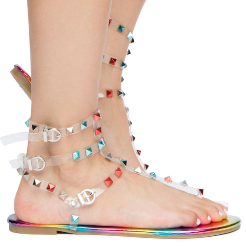WOMEN'S NIP-1 OPEN TOE STUD SANDALS