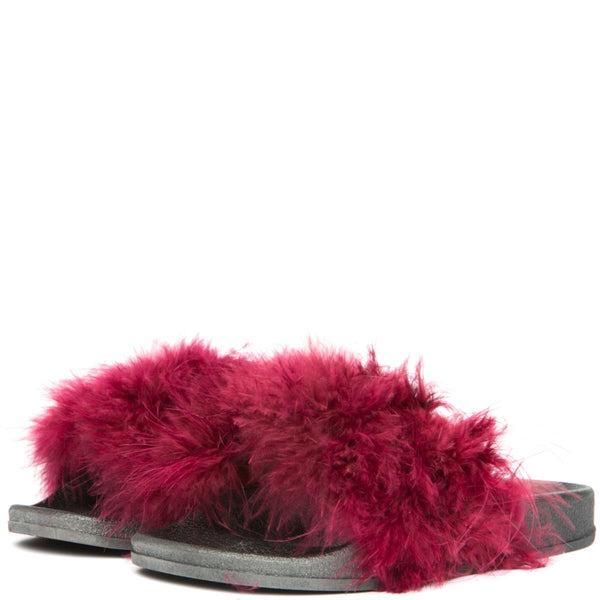 Cape Robbin Moira-2 Women's Wine Fur Slides