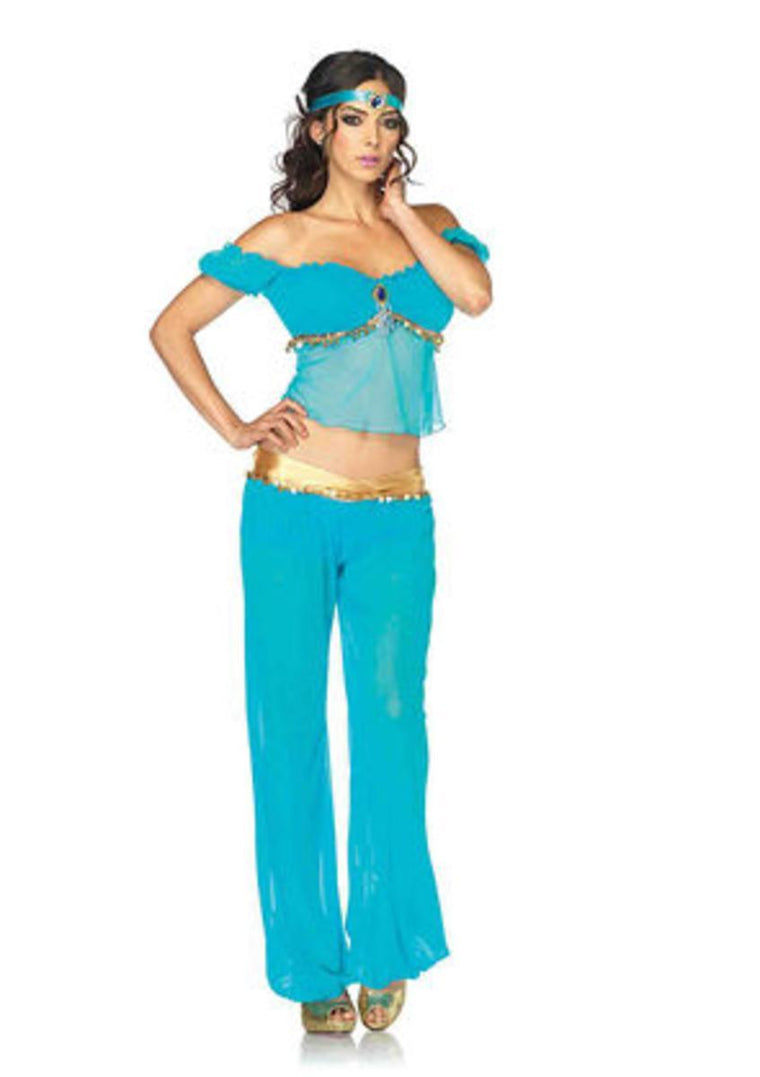 3PC.Arabian Beauty,off the shoulder top,harem pants,headband in TURQUOISE