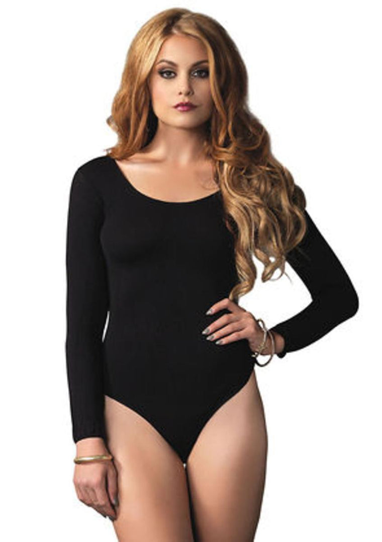 140D Opaque Long Sleeves Bodysuit in BLACK
