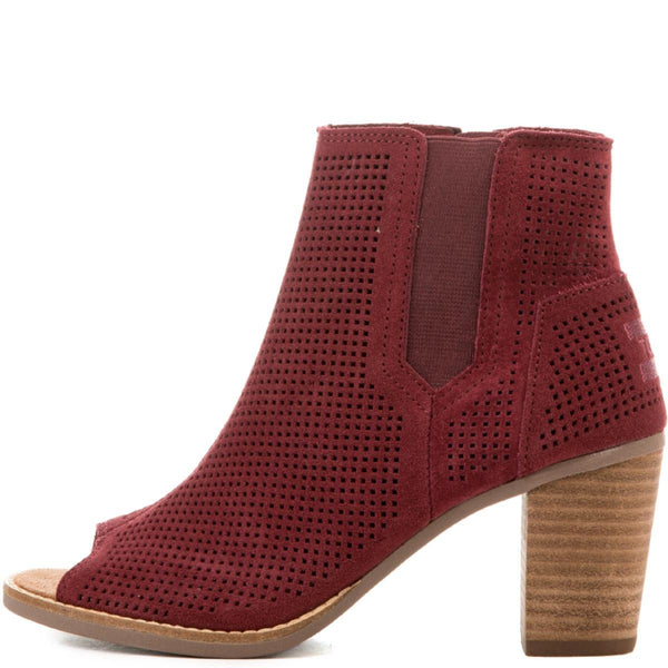 Toms for Women: Majorca Oxblood Perforated Suede Peep Toe Booties