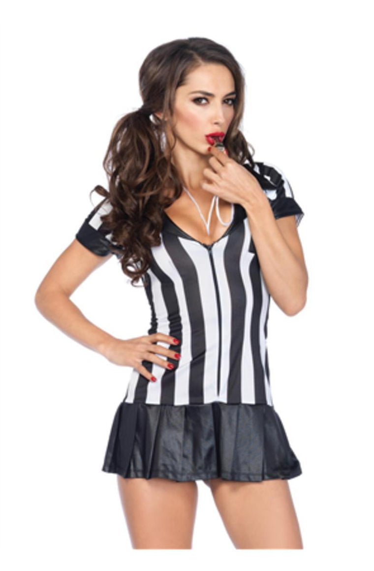 3Pc. Pleate Skirt Zipper Fronts Referee  Dress W/ Socks And Whistle in BLACK/WHITE