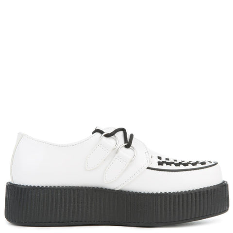 T.U.K. for Women: White Leather Viva Mondo Creeper