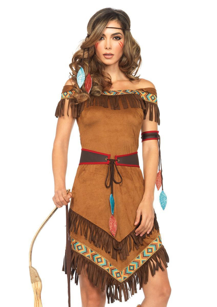 4PC.Native Princess,dress w/fringe,belt,arm band,headband in BROWN